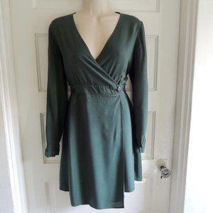 ASOS Forest Green V Neck Wrap Surplice Dress 6